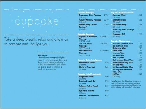 Cupcakemum spa menu 510x382 Cupcakemum spa menu